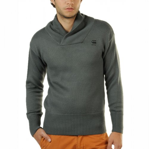 G-Star Raw Mens CL Grade Long Sleeve Sweater Shawl Collar Knit Jumper in Charcoal Grey - m