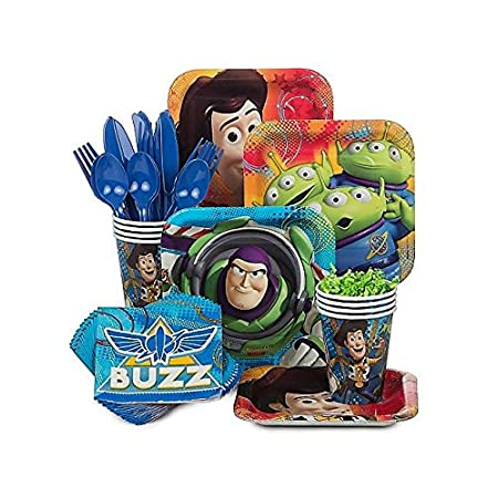 Make your theme party a success when you set your table with the Toy Story Standard Kit (Serves 8). It comes with plates, cups, napkins and cutlery so you have everything you need for serving cake. It's always good to buy extra so guests can have sec...