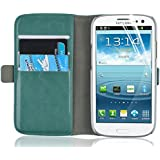 Galaxy S3 Case - Luxury Edition Turquoise Leather Wallet Flip Cover for Samsung Galaxy S7