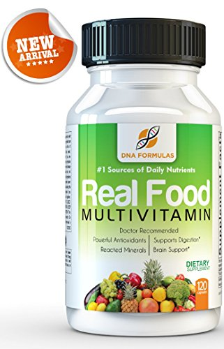 DNA Formulas Whole Food Multivitamin 120 Capsules Enhanced Bioavailable Whole Food Multivitamin For Men & Women No Artificial Colors or Preservatives Activated Mineral Rich - Biotin - Vitamin D - Vitamin B12 - Folate - Vitamin C