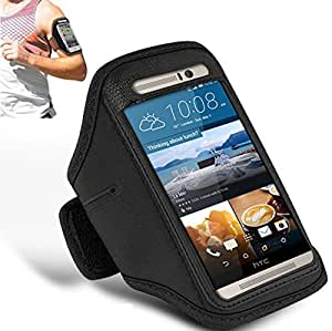 N+ INDIA HTC ONE Adjustable Armband Gym Running Jogging Sports Case Cover Holder With Mini Touch Stylus pen Black