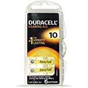 Duracell Easytab Hearing Aid Batteries Size 10, Pack Of 6, 1.45 V