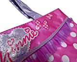 Minnie Mouse Bowtique Toys and Gift Sets for Girls: Minnie Mouse Satin Purse Bag, 2 Minnie Hair Clips, Minnie Mouse Pencil 6-pack, Disney Princess Stickers (4 Sheets 3x6), and 12-pack Shaped Wristbands (5 Item Bundle - Satin Bag Gift Set)