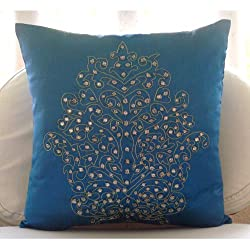 Damask Royal Blue - Decorative Pillow Covers - Silk Pillow Cover Embellished with Crystals