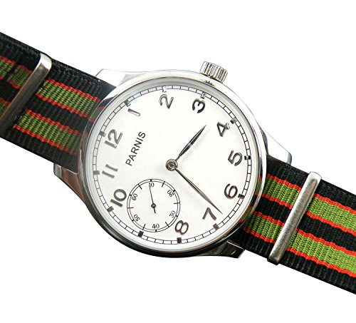 Fanmis Pilot Display Case White Dial 6497 Movement Seagull Mechanical Mens Watch Green Red Nylon Strap