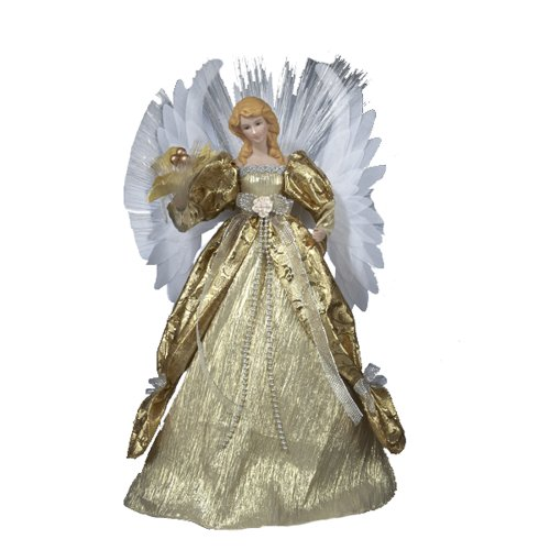 Kurt Adler 16-Inch Fiber Optic Gold Angel Tree Top