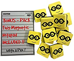 Magnetic Whiteboard Eraser with 5 x 7 inch Notepad, (12) Pack of 2\