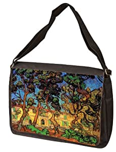 Trees In The Garden Of Saint Paul Hospital By Vincent Van Gogh Laptop Shoulder Bag