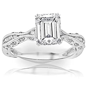 1 Carat Emerald Cut / Shape 14K White Gold Channel Set Eternity Curving Diamond Engagement Ring ( F-G Color , SI1 Clarity )