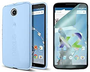 Exian Flexible Cell Phone Case for Google Nexus 6 - Retail Packaging - Blue