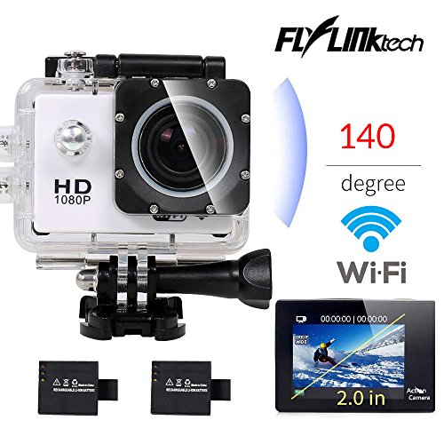Flylinktech® SO60 2.0'' Wifi Waterproof Sports Camera+Extra Battery Full HD 1080P 12MP Action Camera Underwater 30M Shockproof Helmet Cam Car DVR Recorder 140 Degree Wide Angle Lens Outdoor Cam-Silver