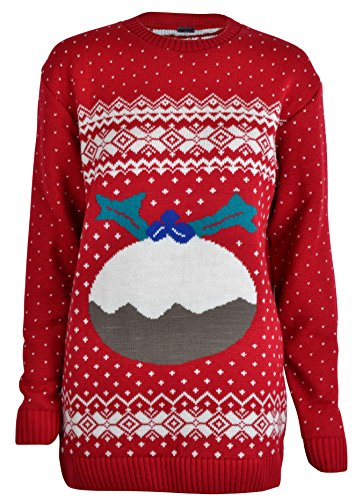 New-Womens-2015-Christmas-Jumper-Aztec-Robin-White-Glitter-Snowflakes