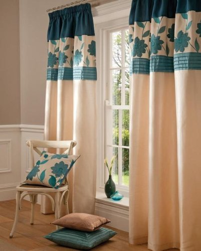 TEAL BLUE CREAM FAUX SILK PENCIL PLEAT LINED CURTAINS 90