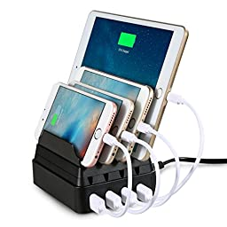 FLECK 2016 Latest Version 4 USB Ports Practical Multiple Devices Charging Station Stand Holder Organizer for Smartphones and Tablets. (Black)