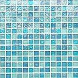 (ノスタルジア) マリンブルーグラス( ガラス モザイクタイル シート 20mm角 )小口出荷(1シート)