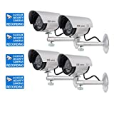 WALI-Bullet-Dummy-Fake-Surveillance-Security-CCTV-Dome-Camera-Indoor-Outdoor-with-Record-LED-Light-Warning-Security-Alert-Sticker-Decals-WL-TC-S4-4-Pack