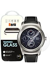 LG G Watch Urbane W150 Tempered Glass Screen Protector by Rerii, 9H Hardness 0.3mm Thickness REAL Tempered Glass, Shatterproof, High Definition Clear Tempered Glass, Oleophobic Coating, Retail Safety Packing