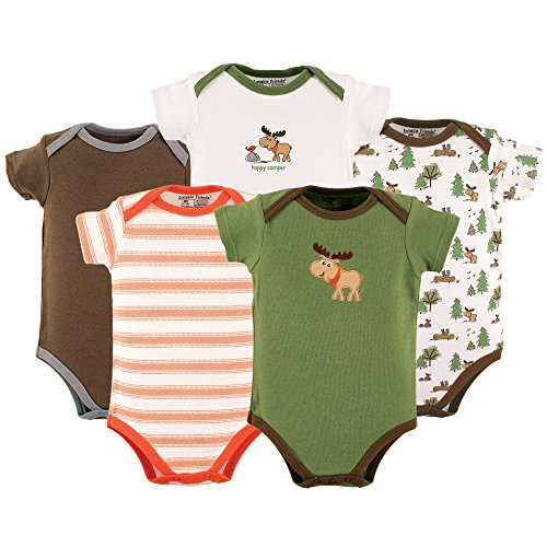 Luvable Friends 5 Pack Bodysuits, Moose,3-6 Months