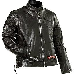 Diamond Plate Ladies\' Rock Design Genuine Buffalo Leather Motorcycle Jacket- 3X