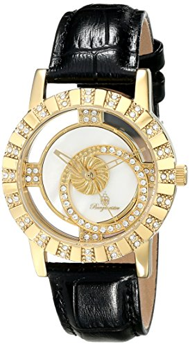 Burgmeister Ladies Quartz Watch with Mother Of Pearl Dial Analogue Display and Black Leather Strap BM517-222