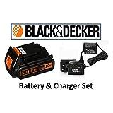 Black & Decker LBXR20 20-Volt Lithium-Ion Battery Pack & Black & Decker 16v-20v Lithium-ion Charger # 90590282 (BATTERY & CHARGER SET (BLACK)) (Color: ORANGE & BLACK, Tamaño: BATTERY & CHARGER SET (BLACK))