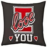 Valentine Gifts for Boyfriend Girlfriend Love Printed Cushion 12X12 Filled Pillow Grey I Love You Gift for Him Her Fiance Spouse Birthday Anniversary Everyday