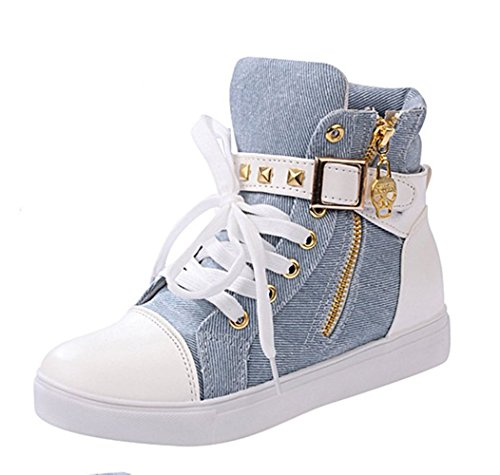 T&Grade Womens Fashion Comfortable Skull Lace Up Buckle Zipper Skull Sports Canvas Sneakers Shoes(8 B(M) US, Blue)