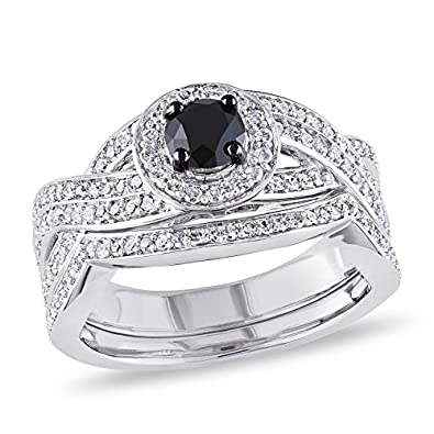 RS JEWELS 1 CT. T.W. Black and White Simulated Diamond Knotted Bridal Set in Sterling Silver For Women's