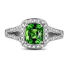 buy Beautiful 2 Carat Cushion Cut Emerald And Diamond Halo Engagement Ring In White Gold