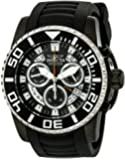 Invicta Pro Diver Swiss Made Men's Quartz Watch with Black Dial Chronograph Display and Blue PU Strap in Black Plated Stainless Steel Case 14678