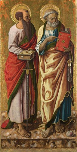 Perfect Effect Canvas ,the Imitations Art DecorativeCanvas Prints Of Oil Painting 'Carlo Crivelli - Saints Peter And Paul,probably 1470s', 18x35 Inch / 46x89 Cm Is Best For Bathroom Artwork And Home Decoration And Gifts (Peter Pan Blu Ray Diamond compare prices)