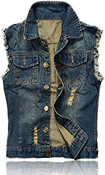 Nasky Men's Retro Ripped Demin Vest Jacket