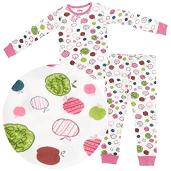 Hatley Little Girls'  Apple All Over Print Pajama,Egg White,2T