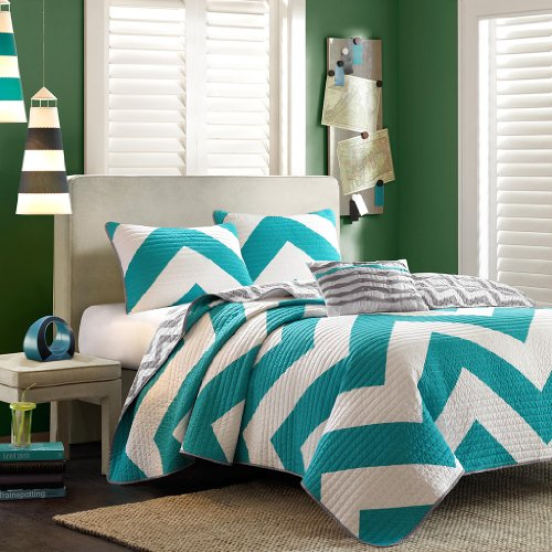 Teal, Gray & White Chevron Twin Quilt, Sham & Toss Pillow (3 Piece Bed In A Bag) (Twin Teal Quilt compare prices)