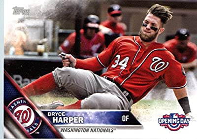 2016 Topps Opening Day #OD-200 Bryce Harper Washington Nationals Baseball Card in Protective Screwdown Display Case