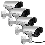 Fake Cameras for Outdoor, Dummy Camera CCTV Surveillance System with Realistic Red Blinking Lights and Warning Sticker for Home Businesses (4, Silver) (Color: Silver, Tamaño: 4 pack silver)