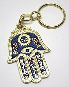 Hamsa Hand Evil Eye Charm Israel MAZAL Jewish Gift Key Ring w/ Travelers Sacred Prayer