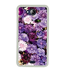 Purple Flowers 2D Hard Polycarbonate Designer Back Case Cover for Micromax Canvas Play Q355