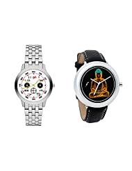 Gledati Men's White Dial And Foster's Women's Black Dial Analog Watch Combo_ADCOMB0001820