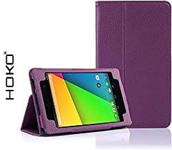 Nexus 7 2nd Gen Case, HOKO Purple Leather Flip Cover Book Case with Stand for Asus Google Nexus 7 2nd Gen (Smart cover sleep and wake function)