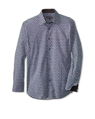 Jared Lang Men's Patterned Sport Shirt with Contrast Trims