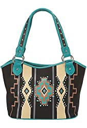 Montana West Western Aztec Collection Four Poster Tote