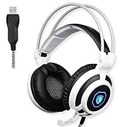 GW SADES SA905 Wired USB PC Gaming Headset Over-Ear headband Headphones with Microphone Vibration LED Lights(Black&White)