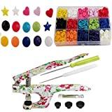 KAMsnaps Starter Case: Heart / Star / Round KAM Snaps Press Pliers for Plastic Snaps No-Sew Buttons Fasteners Setter Hand Tool for Clothes, Cloth Diapers, Bibs (Floral Organizer) (Color: Pliers & Snaps in Case)