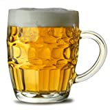 Traditional Glass Pint Tankards CE - Set of 4 | Also known as Dimpled Beer Tankard Britannia Pint Mug Beer Stein Beer Mug