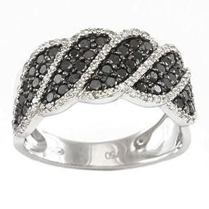 Bague Diamant noir - Or 750 Millièmes (18 Carats): 5.20 Gr - Diamant: 0.97 Carat qualité HSI