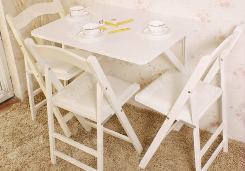 Sobuy wall mounted drop leaf table folding dining table solid wood fwt05 w - Table petits espaces ...