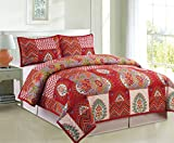 COMPASS 3 Piece Kantha Embroidered Quilt Coverlet Set, Multicolor, Full/Queen