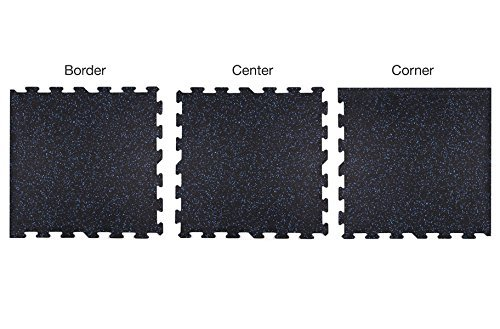 IncStores 8mm Strong Rubber Tiles (Grey, 4 Border Tiles) Interlocking Rubber Gym Mats For Home Gym Flooring, Exercise Mats, Equipment Mats & Fitness Room Floors