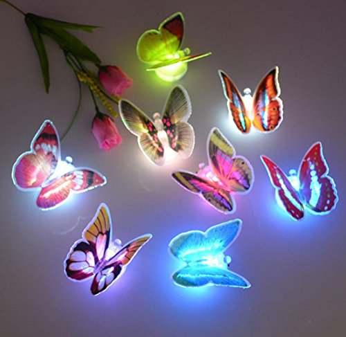 1Pc Authentic Modern Butterfly LED Nightlight Cute Home Room 3D Colorful Color Changing Random Color and Size
